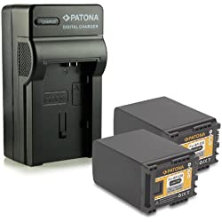 PATONA 4in1 Chargeur + 2x Batterie BP-828 pour Canon HF-G30 XA20 XA25 LEGRIA HF-G10 HF-G20 HF-G25 HF-G30 HF-M31 HF-M32 HF-M40 HF-M300