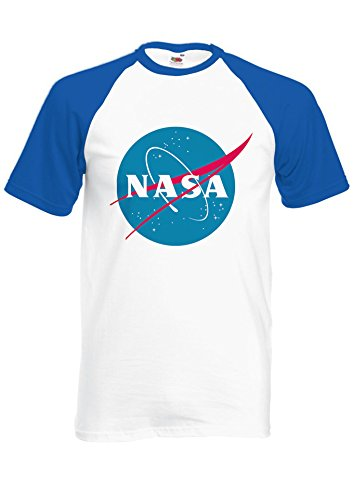 Nasa National Space Administration Logo Royal Blue/White Men Women Unisex Shirt Sleeve Baseball T Shirt-M