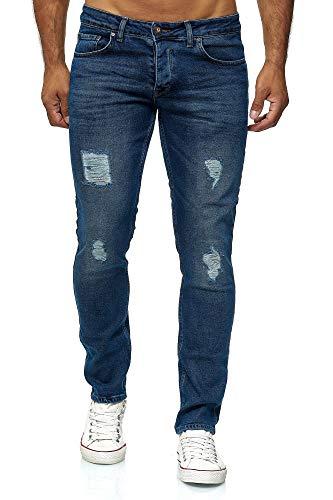 Wash Tapered Leg Jeans (Elara Herren Jeans   Slim Fit Hose Denim   Strech Style   Chunkyrayan 16525-Blau-31W / 32L)
