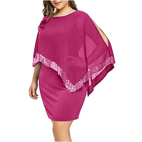 Damen Kleid Für Damen Elegant Somerl Damen Kleider Damen O Hals Plus Size Kalte Schulter Overlay Asymmetrische Figurbetontes Abendkleid Kleidung Für Damen(Rosa,XXXXXL)