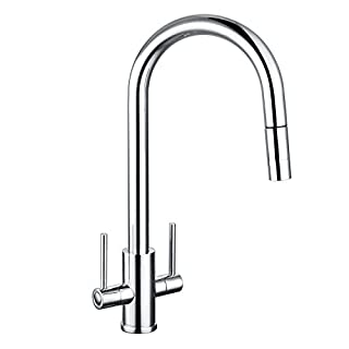 Kitchen Sink Mixer Tap Pull Out Spray Dual Lever Tap Monobloc Swivel Spout Chrome Brass