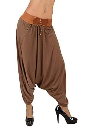 5898 Fashion4Young Damen Haremshose Stretch-Stoff Hose Aladinhose Pumphose 5 Farben Gr. 34 36 38 (Braun)