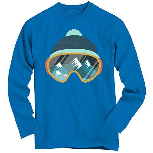 Snow #1 Longsleeve-Shirt | Wintersport | Snowboarden | Skifahren | Schnee | Skibrille | 100% Baumwolle | 3XL © Shirt Happenz blau (Royal Blue BCTU005)