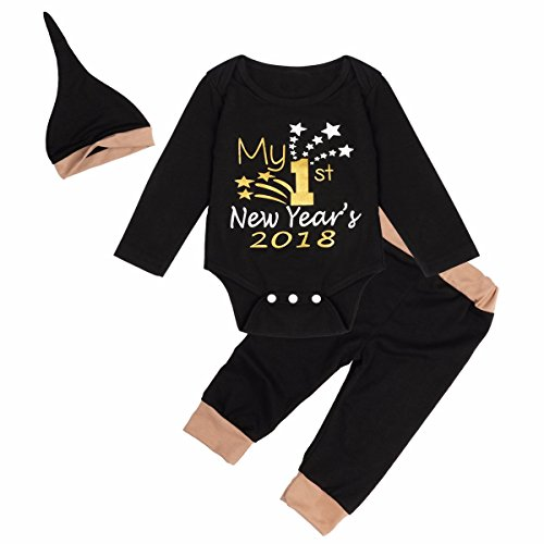enes Baby Bekleidungsset Langarm Strampler+Hose+Hut Baby Geschenk Outfits Set Gr.50-80 Schwarz 50-56/0-3 Monate (Silvester Baby)