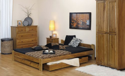 "New Solid Wooden Bed Frame with slats: ""Three"" (Oak, Small Double 4ft_120cmx190cm) …"