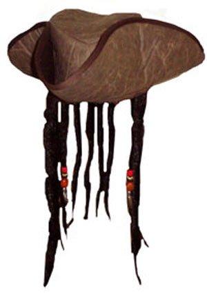 Henbrandt Karibische Pirat Kapität Hut mit Perlen und Angenäht Falsch Dreadlock Haare (Captain Jack Sparrow Kostüm Hut)