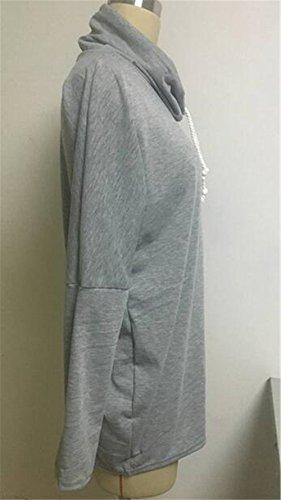AILIENT Allentato Donne Felpa Taglie Forti Casuale Alta Colletto Maglie A Manica Lunga Pullover Puro Colore Autunno Invernale Grey