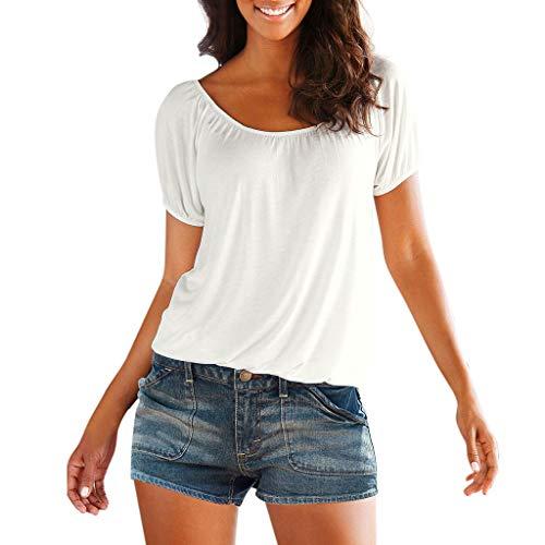 CAOQAO Damen Sommer Kurz Ärmel O Hals Rückenfrei Fest Slim Fit T-Shirt Hemd Oberteil ()