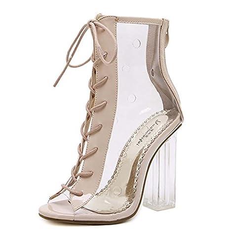 L&Y Femmes Peep Toe Pumps Crystal Chaussures Cross Strap Sandales à lacets Chaussures à talons hauts ( Couleur : Clair , taille : 35 )