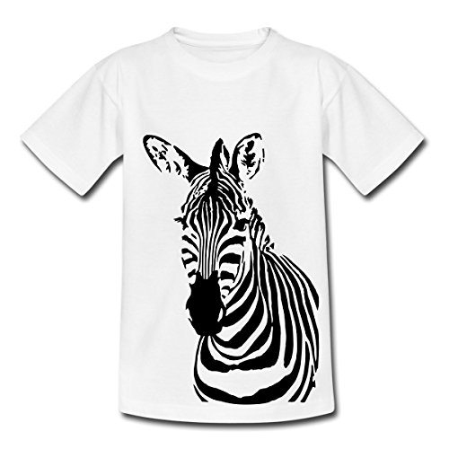 Spreadshirt Zebra Cooles Porträt Gestreiftes Wildpferd Teenager T-Shirt, 152/164 (12-14 Jahre), - Junior Teen Kostüm