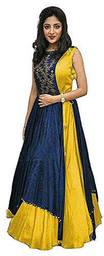 Gowns for women party wear long fancy silk embroidered semi-stitched Indo Western, Latest designer party wear salwar suits lehenga choli for wedding function, low price anarkali dress long kurti for girls (Yellow)  available at amazon for Rs.399