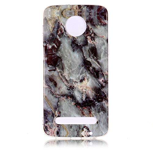 Ycloud Weich Silikon TPU Schutzhülle für Motorola Moto Z3 Play Hülle Ultra Dünn Marmor Back Cover Anti-Kratzer Entwurf Marble Linien Muster Grau
