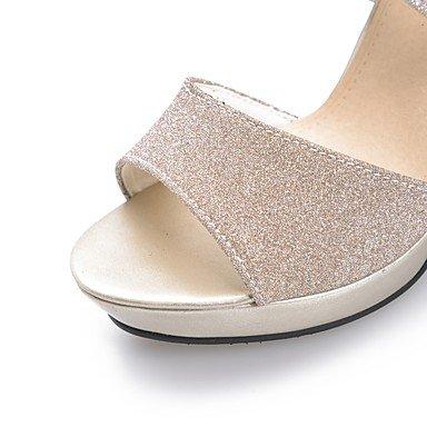 LvYuan Damen-Sandalen-Hochzeit Party & Festivität Kleid-Glanz-Stöckelabsatz-Andere-Schwarz Silber Gold Silver