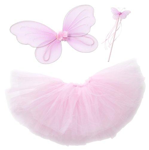 Pink Kostüm Fee Princessin Tutu-Set mit Pink Flügeln (Schmetterling/Fee) und Pink Schmetterlings-Zauberstab, als Verkleidung, für Kostümparty (3-teiliges Set) -- Large (5-6 Jahre)