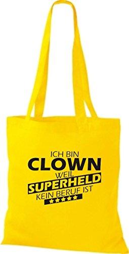 Shirtstown Stoffbeutel Ich bin Clown, weil Superheld kein Beruf ist goldgelb