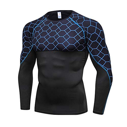 ERSD Lauf Base Layer Quick Dry Vest mit kurzen Ärmeln Trainings-T-Shirt Workout Fitness-Kleidung for Herren (Farbe : A103, Size : S)