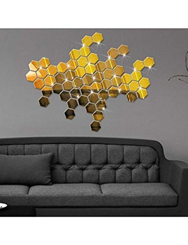 ZLJBB Runde Gold Silber Schwarz Geformt Aufkleber 12 Stücke 3D Spiegel Hexagon Vinyl Entfernbare Wandaufkleber Aufkleber Wohnkultur Kunst DIY Color