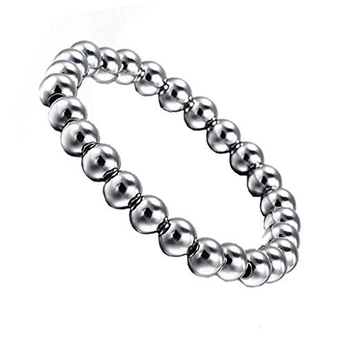 MagiDeal Frauen / Herren 8mm Edelstahl Runden Perlen Charme Elastisches Armband - Silber (Frauen März 8.)