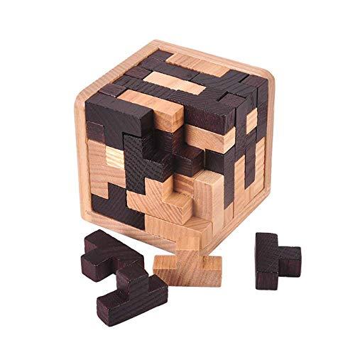 Gobus 54 Stücke T Form Bausteine Kombinationen 3D Holz Pädagogisches Spielzeug Denkaufgabe Puzzle Schwarz und Weiß für Kinder Erwachsene