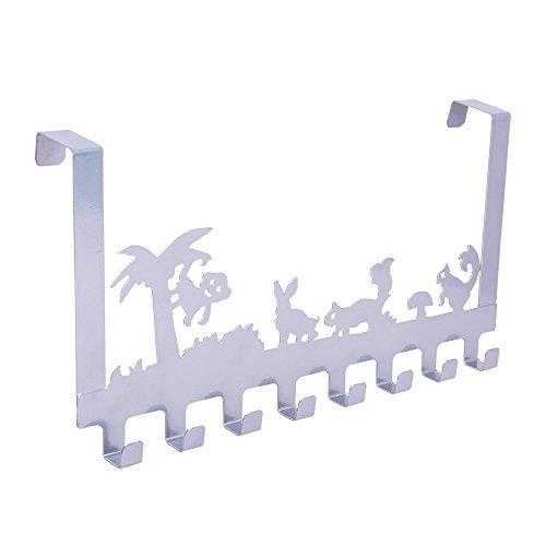 Baoyouni Metall Türhängeleiste Türgarderobe über die Tür 8 Haken Rack Baum & Tiere Design Dekorative Organizer Kleiderbügel für Kleidung, Mantel, Hut, Gürtel, Handtücher - Geeignet für zu Hause oder im Büro verwenden 40 x 20,5 x 4,7 cm (Silber)