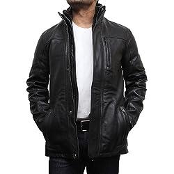 Brandslock hombres Chaqueta de cuero con estilo del motorista Parka estilo diseñador capa de la chaqueta de la vendimia