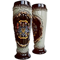 Jarra de cerveza alemana en forma de vaso tradicional alemana negra con escudo de estaño, jarra 0,5 litros