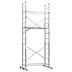 Hailo 9459-551 1-2-3 500 Aluminium Home and Trade Light DeLuxe Scaffold with 12 Rungs