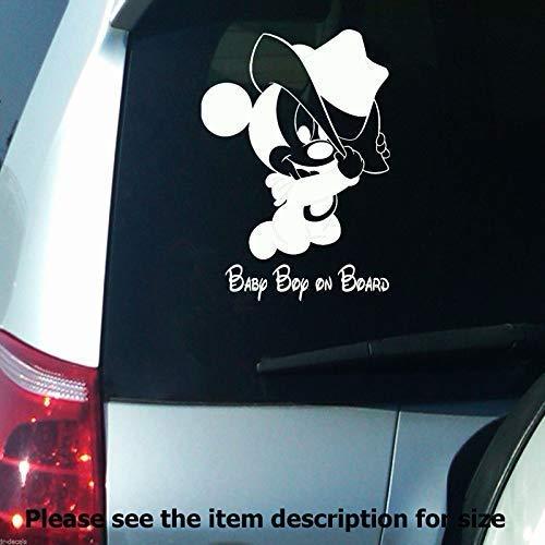 Baby Boy on Board Disney Mickey Mouse Auto Stoßstange Zeichen abnehmbare Vinyl Wandaufkleber Aufkleber D04 (Zimmer-board)