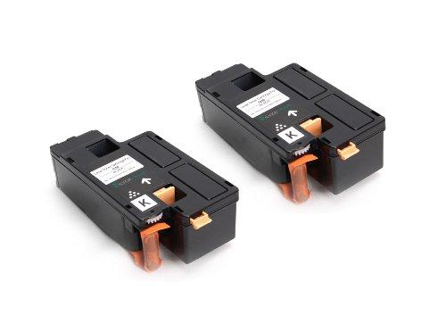 Preisvergleich Produktbild Toner DOPPELPACK kompatibel zu DELL 1250 BK / 2x Schwarz je 2.000 Seiten / für Dell Laserdrucker 1250c 1350cnw 1355cn 1355cnw