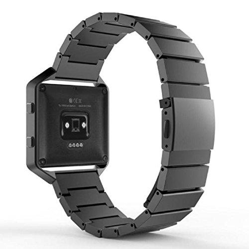 Für Fitbit Blaze Watch Transer® Ersatz Uhrenarmbänder+Rahmen-Fall Luxuriöser Alle Edelstahl Uhrenarmband Armband für Uhren Länge: 175mm (Schwarz)