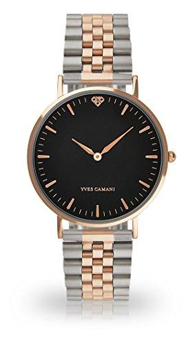 YVES CAMANI - AMELIE, orologio da polso da donna, al quarzo, analogico, cassa in acciaio inossidabile color oro rosa, quadrante nero (in acciaio, colore oro rosa/argento)