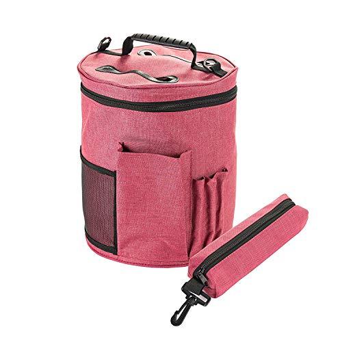 Große Premium Strick-Tasche, HomeYoo Stricktasche Aufbewahrung, Wolle Aufbewahrungstasche für Stricken Zubehör, Garn Aufbewahrungsbeutel für die ultimative Verwahrung Häkel Strickgarn(Groß+Klein)