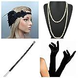 thematys Gangster-Braut Flapper Set + Stirnband + Halskette + Handschuhe + Zigarettenhalter - 20er Jahre Kostüm-Set für Damen - perfekt für Fasching & Karneval (4)