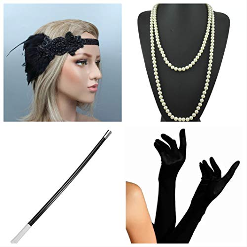 thematys Gangster-Braut Flapper Set + Stirnband + Halskette + Handschuhe + Zigarettenhalter - 20er Jahre Kostüm-Set für Damen - perfekt für Fasching & Karneval (4) (Gangster Frau Kostüm)