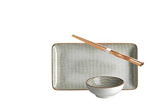 Domestic by Mäser 931044Serie, Murcia Sushi–Vajilla de 18piezas, rectangular, para 6personas, decorado en el color Porcelana, Gris, 63x 30x 20cm, 18unidades
