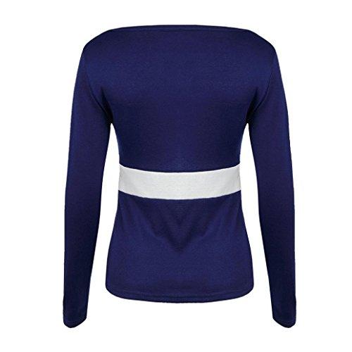 Longra Slim Fit Chemisiers Femme Fille Col U Uni Tops à manches longues Femme T-shirts Femme Chic Tee shirt Femme Élégant Top Printemps Femme Blouses Femme T-Shirt Tunique Mi saison Bleu