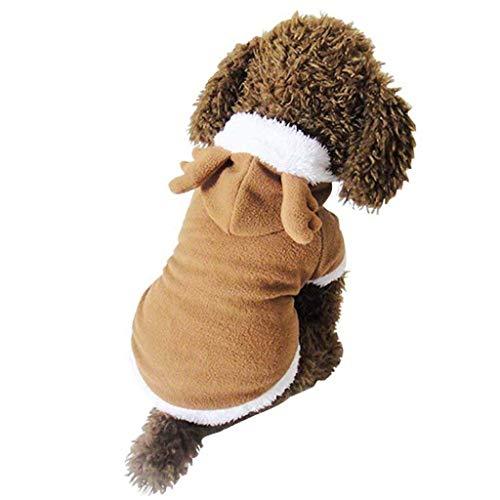 IW.HLMF Hund Katze niedlich Weihnachten Kleidung Rentier Kostüm, lustige Elch Kostüme Cosplay Kleid, Welpen Fleece Outfits warmen Hoodie Tier Festival Bekleidung Kleidung (M Größe)