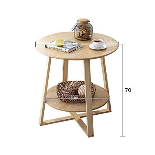 LYN Beistelltische, Ende Tisch, Beistelltisch, Couchtische, Beistelltisch, Runder Couchtisch Modernes Esstisch aus Holz Stehtisch Ecktisch Snack Tabelle (Color : 2Tier, Size : 70 * 70cm) -
