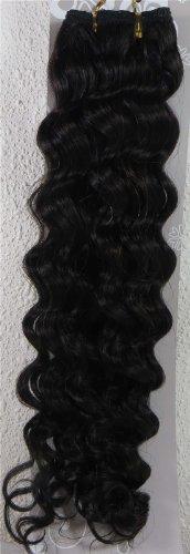 45,7 cm naturel noir (# 1B) trames de cheveux vierges brésiliens Remy ondulés – Tissage 100% Cheveux Humains vierges brut