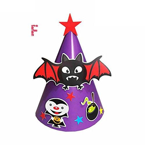 Y56 DIY Kind Papier Cartoon Hexenhut Hexen Hut Mütze Schwarz für Halloween Kostüm Zusatz Kappe (F)