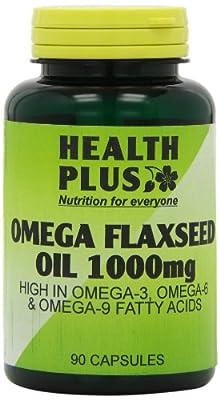 Health Plus Omega Flaxseed Oil 1000mg Omega-3, Omega-6 & Omega 9 Supplement - 90 Capsules from Health + Plus Ltd