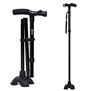 Folding Walking Stick Portable Lightweight Walking Crutch with Light and Cushion Handle Adjustable Folding Cane for Men and Women (One Handle)