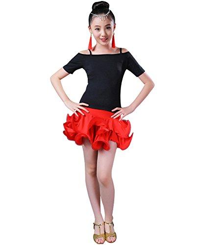 BOZEVON Kinder Mädchen Tanz Kleidung Oberteile + Rock Set Latein Tanzkleid Übung Performances Wettbewerb Kostüm, Stil-1/150
