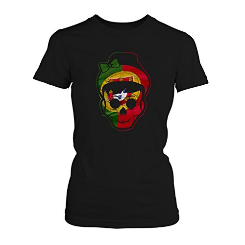 Fashionalarm Damen T-Shirt - Portugal Totenkopf | 2018 Fan Shirt Trikot Fußball Weltmeisterschaft WM Weltmeister Flagge Fahne Skull Schädel, Farbe:Schwarz;Größe:S