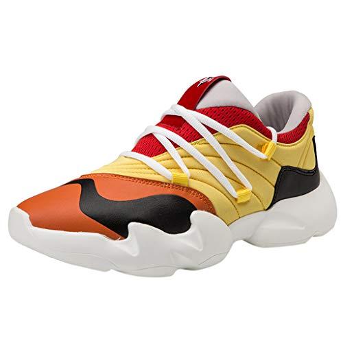 Lilicat Scarpe da Ginnastica Corsa Uomo Running Sportive Sneakers Scarpe Basket Fitness Sport Basse Outdoor Tennis Respirabile Mesh Scarpe da Corsa(Giallo,41 EU)