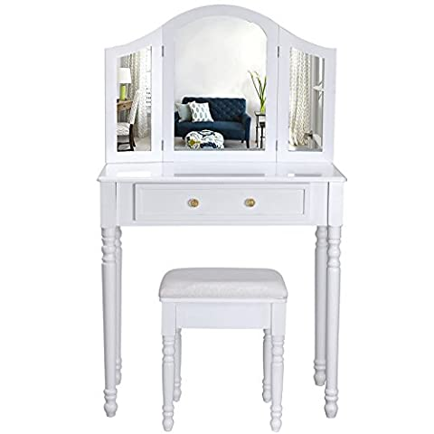 Songmics white 3 foldable mirrors Dressing Table Set with stool RDT33W