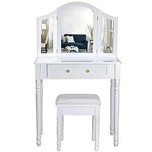 Songmics Coiffeuse meuble blanc-table de maquillage commode avec 3 miroirs rabattables et tabouret 136 x 80 x 40 cm RDT33W