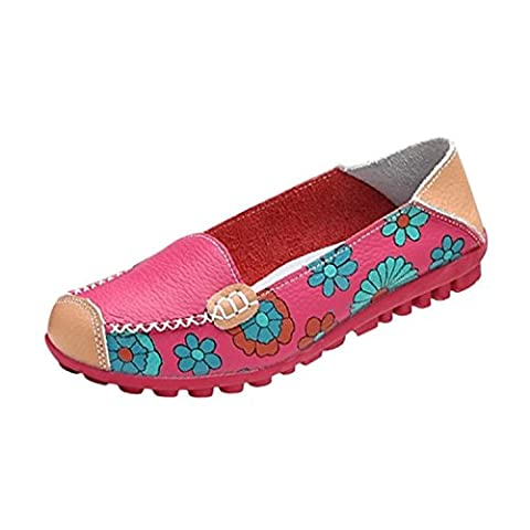 Minetom Women Bright Color Casual Flower Printed Slip On Leather Flat Pumps Moccasins Dancing Shoes ( Red UK 5 / EU 38 )