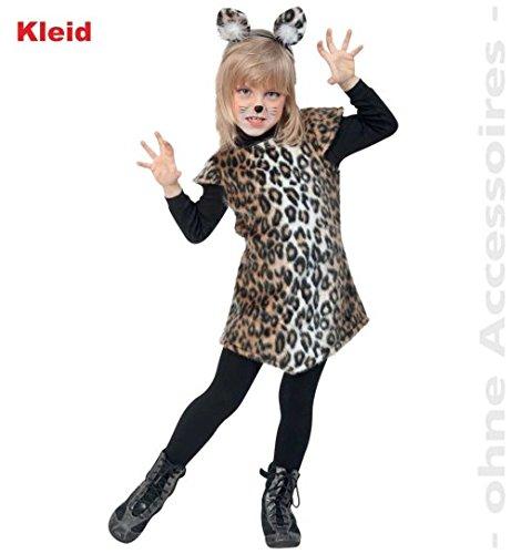 Kinder Für Kostüm Leopard (Kleid Katze Leopard 104 Mädchen Fasching Kinder-Kostüm)