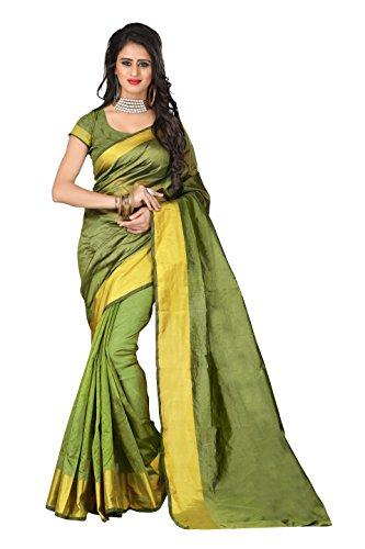 J B Fashion Women's saree with blouse piece (Green)